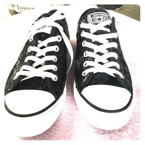 NYOP! Converse size 8 lowtop black sequin sneakers